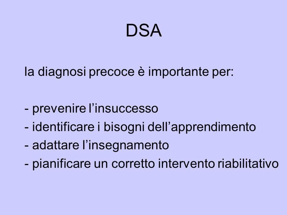 DSA la diagnosi precoce è importante per: - prevenire l'insuccesso