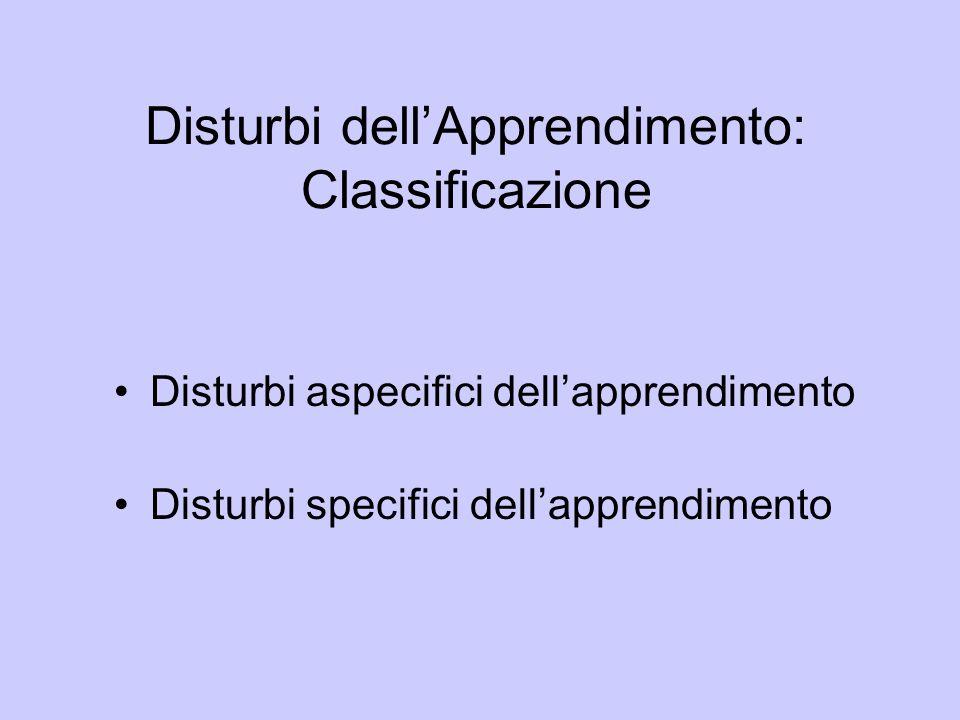 Disturbi dell'Apprendimento: Classificazione