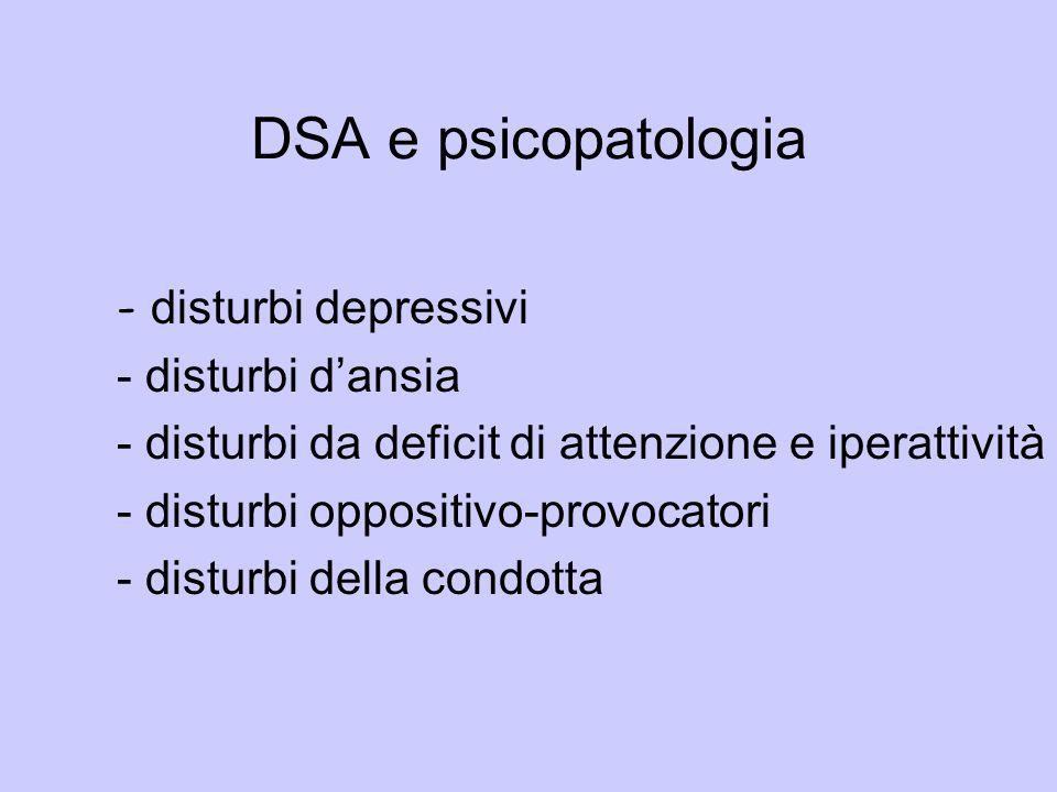 DSA e psicopatologia - disturbi depressivi - disturbi d'ansia