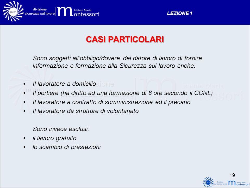 LEZIONE 1 CASI PARTICOLARI.