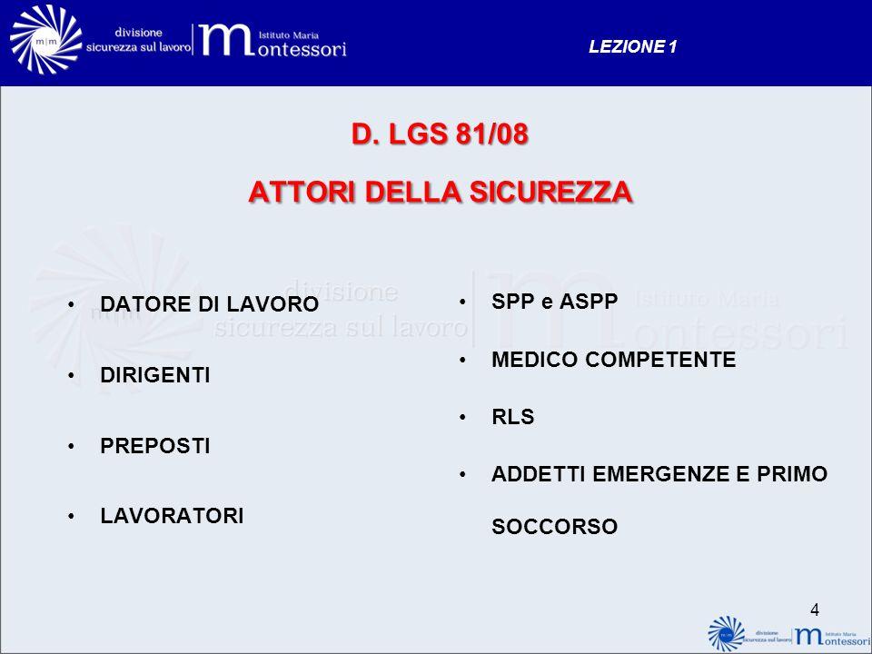 D. LGS 81/08 ATTORI DELLA SICUREZZA