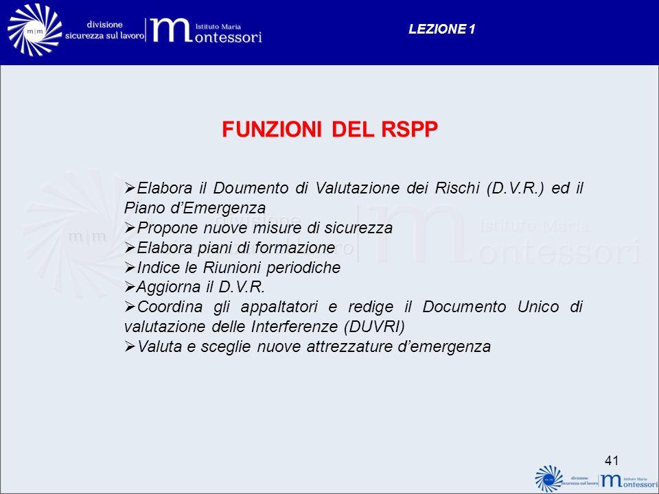 LEZIONE 1 FUNZIONI DEL RSPP. Elabora il Doumento di Valutazione dei Rischi (D.V.R.) ed il Piano d'Emergenza.