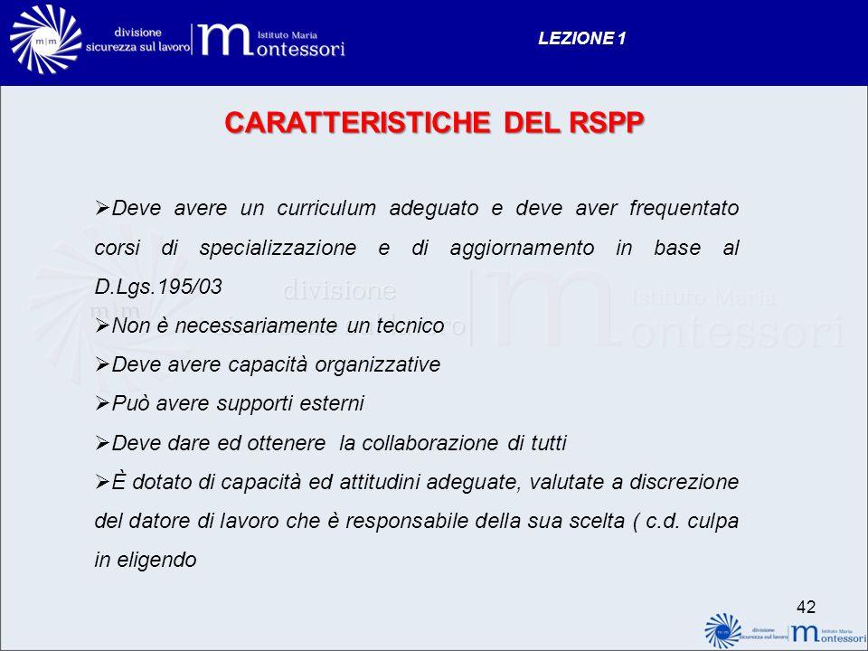 CARATTERISTICHE DEL RSPP