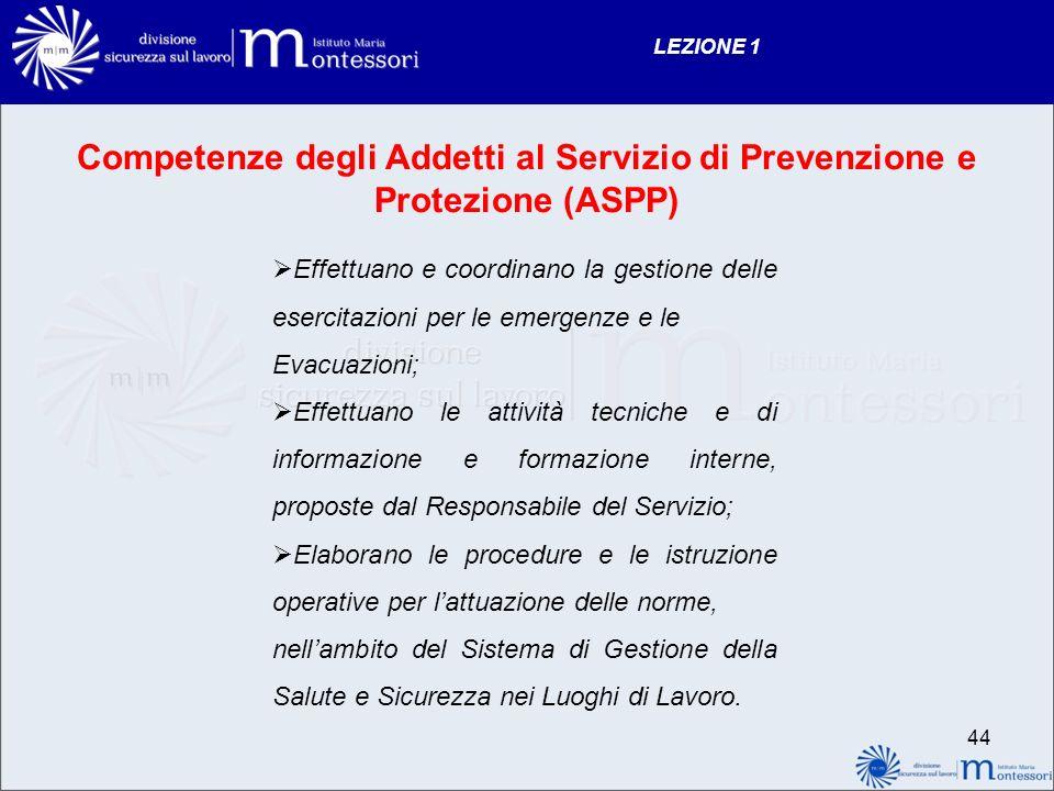 LEZIONE 1 Competenze degli Addetti al Servizio di Prevenzione e Protezione (ASPP)