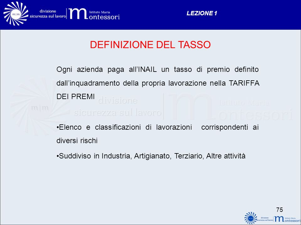 LEZIONE 1 DEFINIZIONE DEL TASSO.
