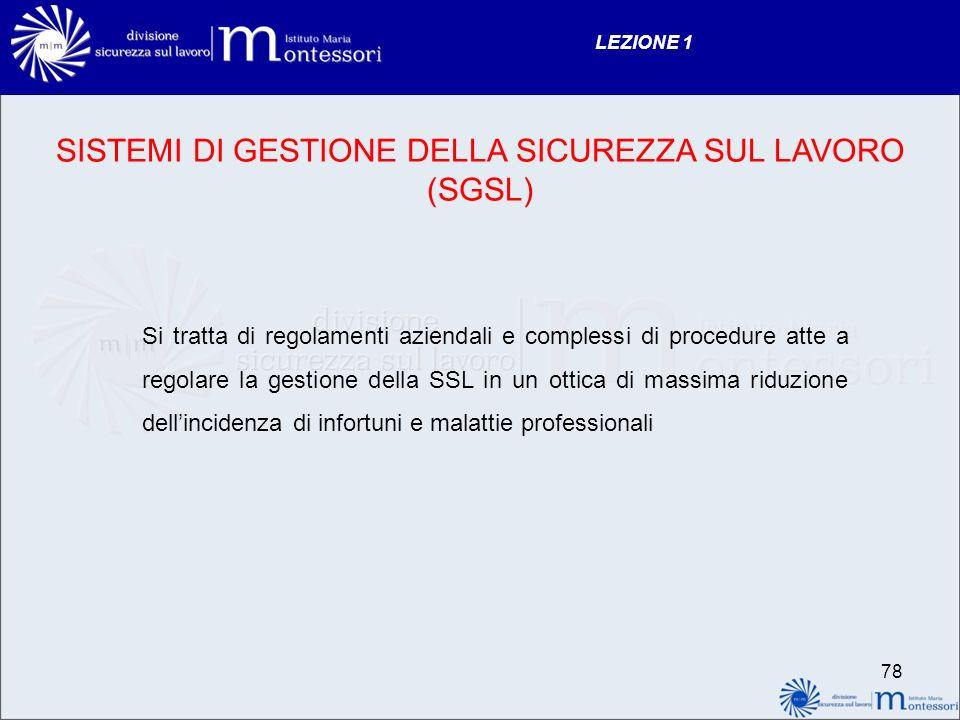 SISTEMI DI GESTIONE DELLA SICUREZZA SUL LAVORO (SGSL)