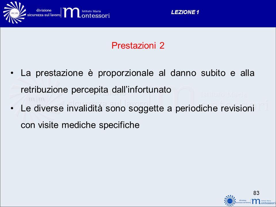 LEZIONE 1 Prestazioni 2. La prestazione è proporzionale al danno subito e alla retribuzione percepita dall'infortunato.
