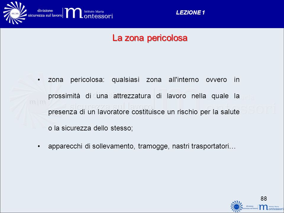 LEZIONE 1 La zona pericolosa.