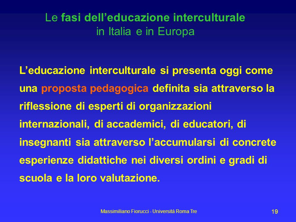 Le fasi dell'educazione interculturale in Italia e in Europa