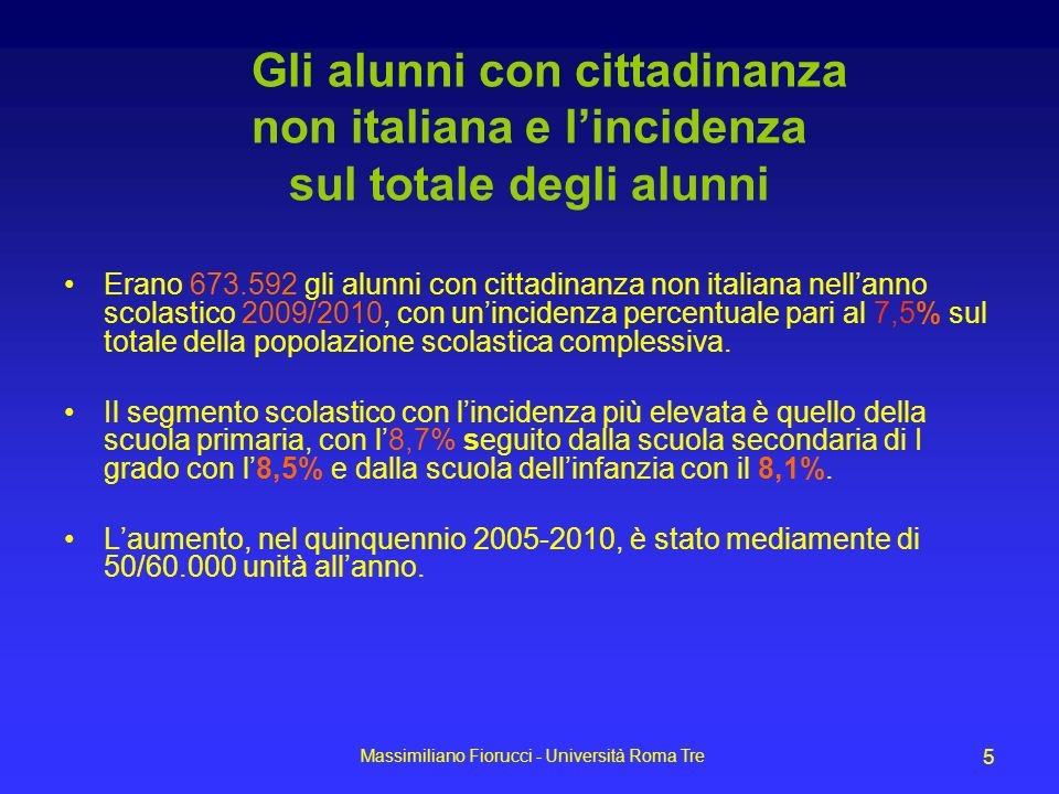 Gli alunni con cittadinanza non italiana e l'incidenza