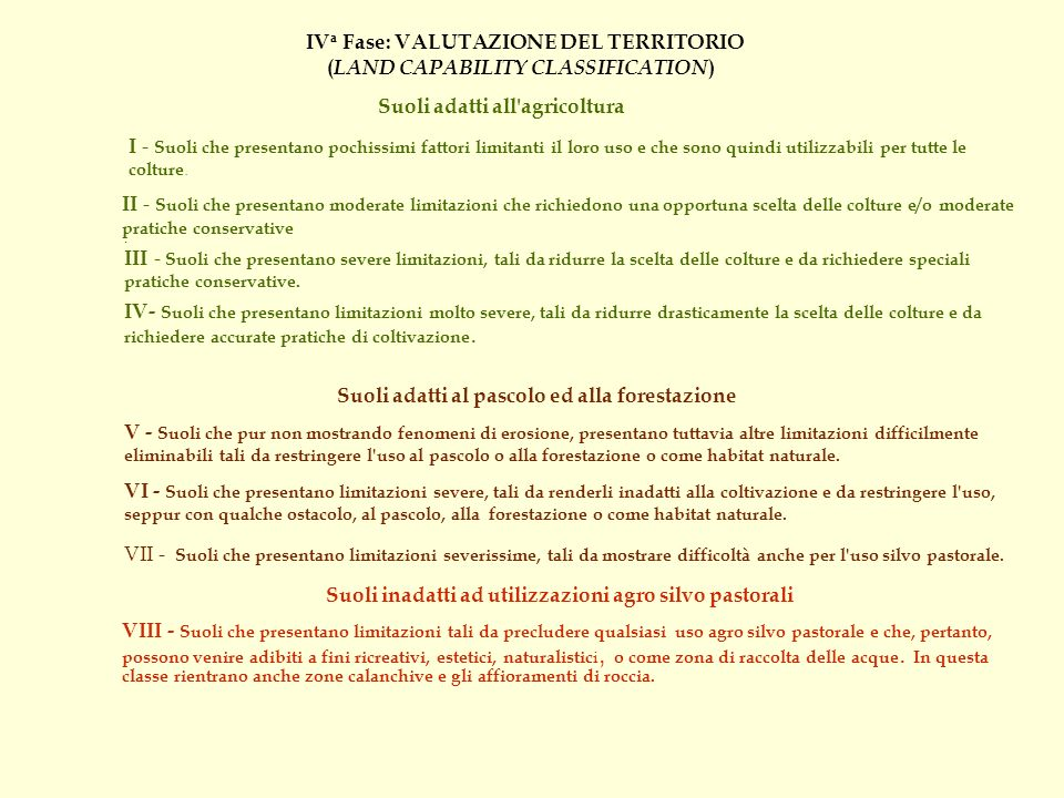 IVa Fase: VALUTAZIONE DEL TERRITORIO (LAND CAPABILITY CLASSIFICATION)