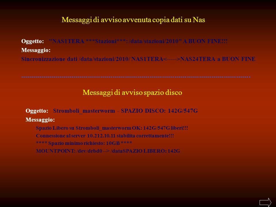 Messaggi di avviso avvenuta copia dati su Nas