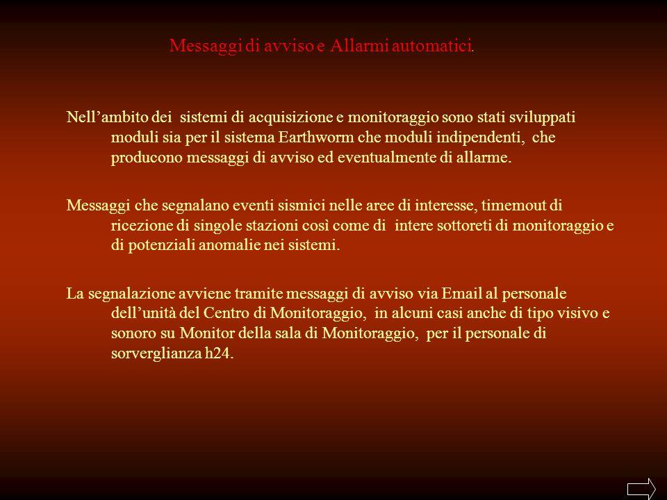 Messaggi di avviso e Allarmi automatici.