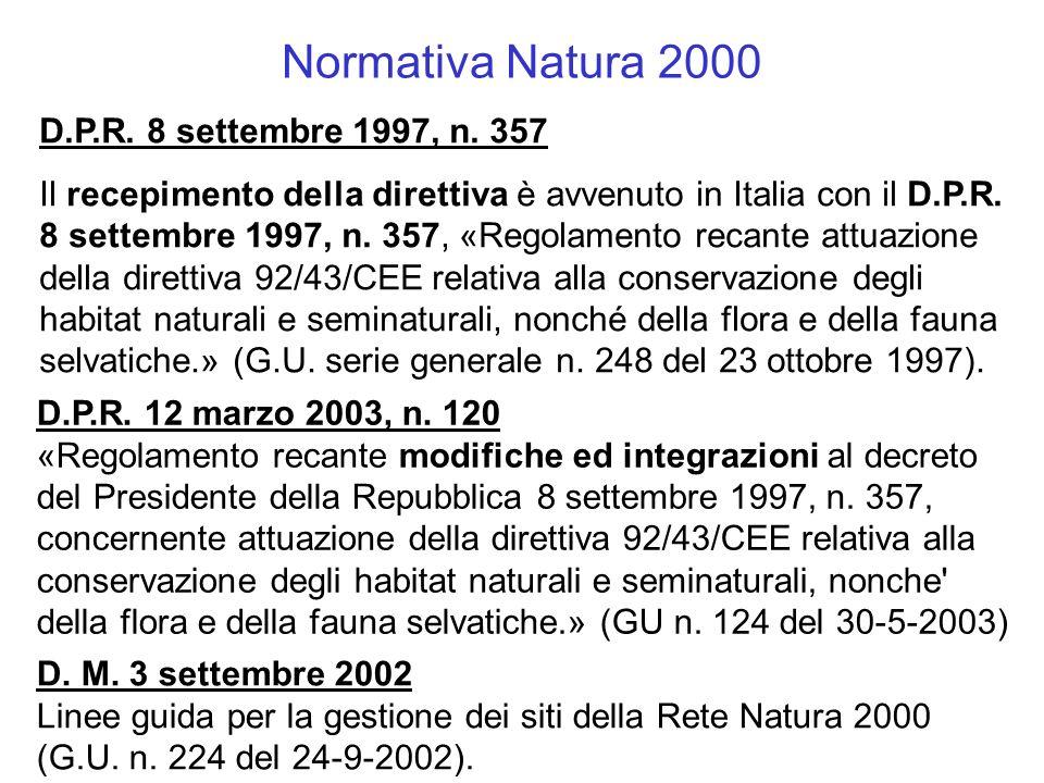 Normativa Natura 2000 D.P.R. 8 settembre 1997, n. 357