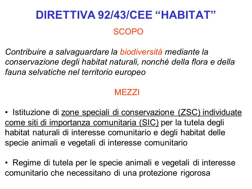 DIRETTIVA 92/43/CEE HABITAT