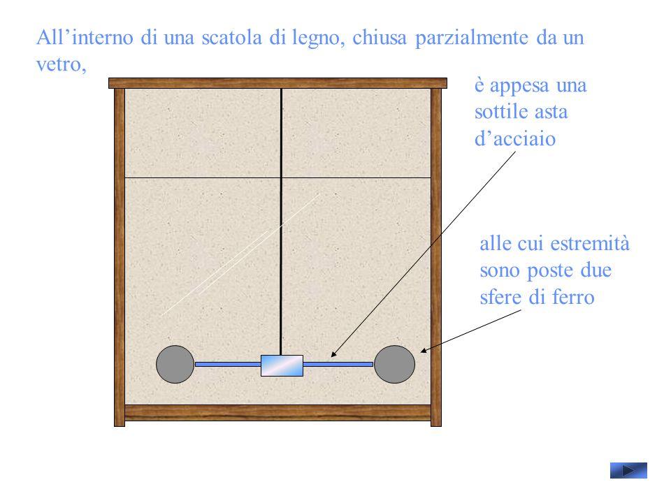 All'interno di una scatola di legno, chiusa parzialmente da un vetro,
