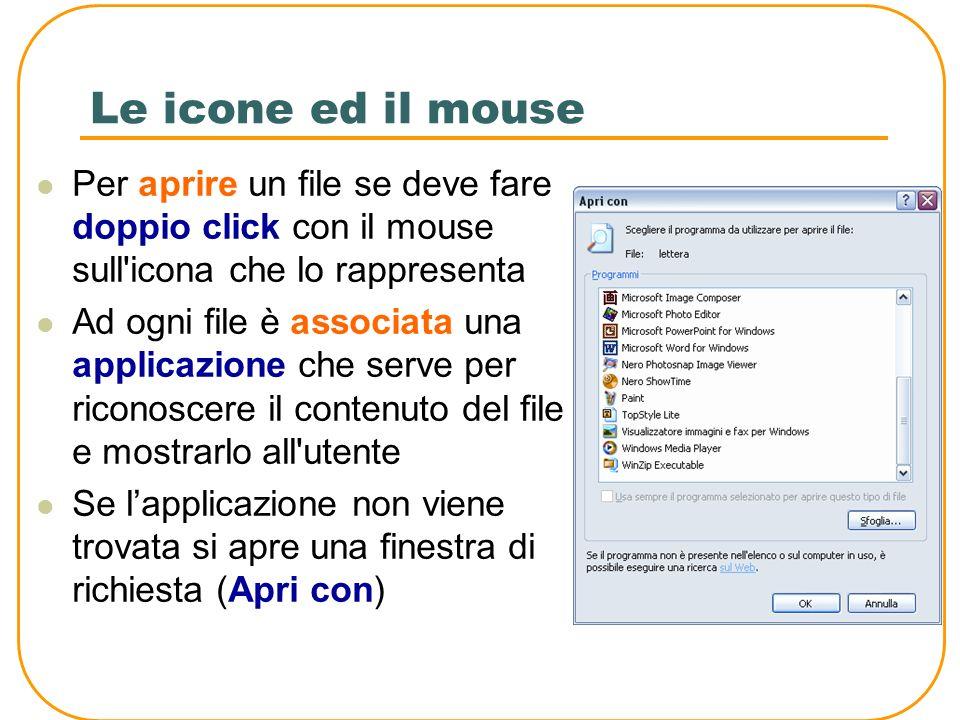 Le icone ed il mouse Per aprire un file se deve fare doppio click con il mouse sull icona che lo rappresenta.
