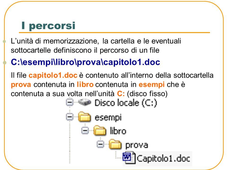 I percorsi C:\esempi\libro\prova\capitolo1.doc