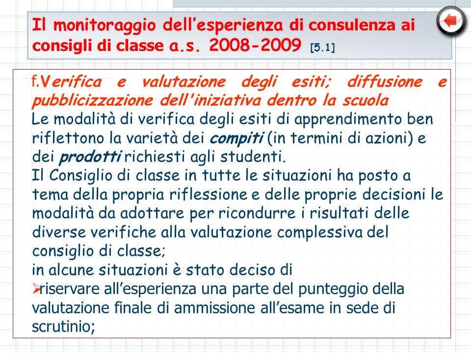 Il monitoraggio dell'esperienza di consulenza ai consigli di classe a