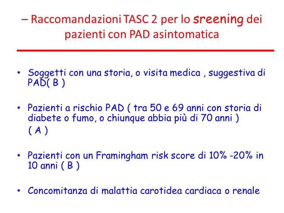 – Raccomandazioni TASC 2 per lo sreening dei pazienti con PAD asintomatica