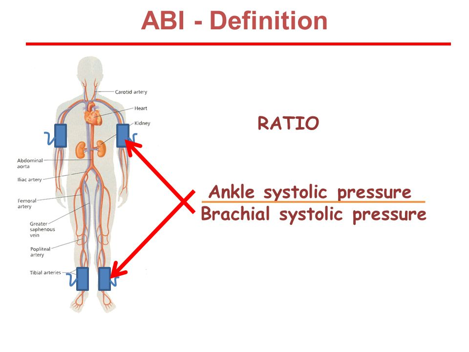 Ankle systolic pressure Brachial systolic pressure