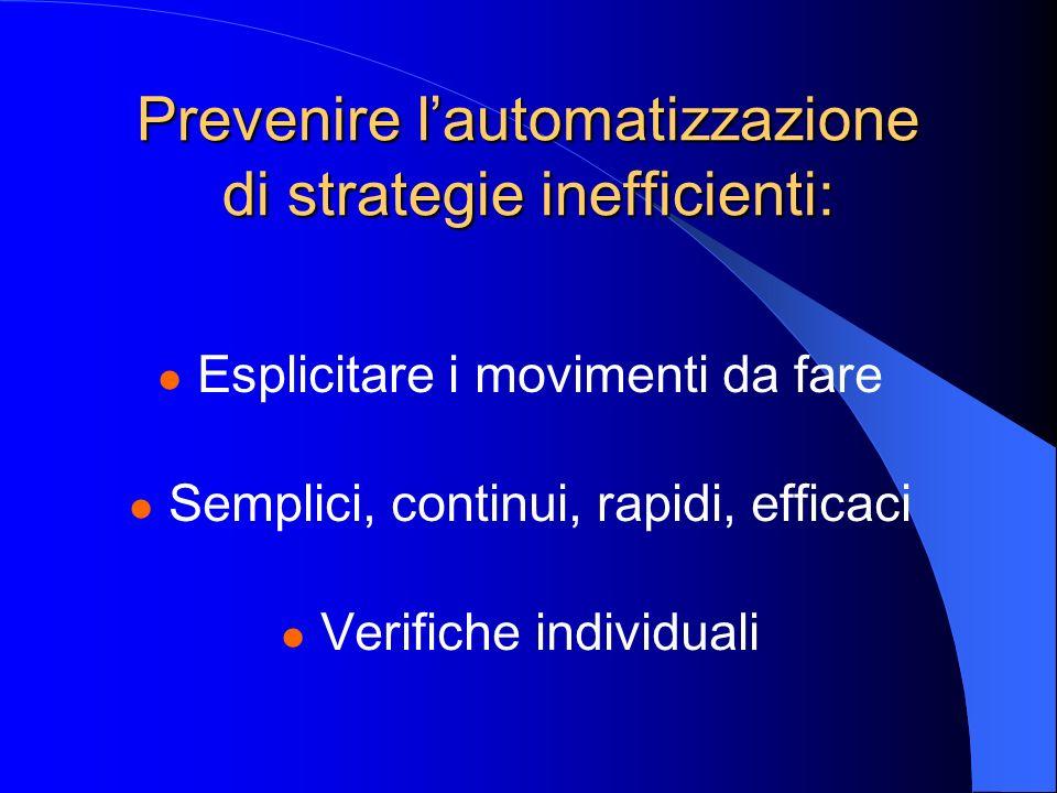 Prevenire l'automatizzazione di strategie inefficienti: