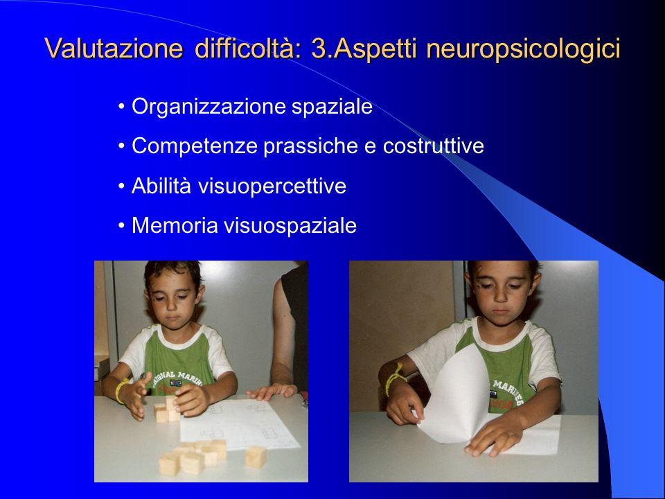 Valutazione difficoltà: 3.Aspetti neuropsicologici
