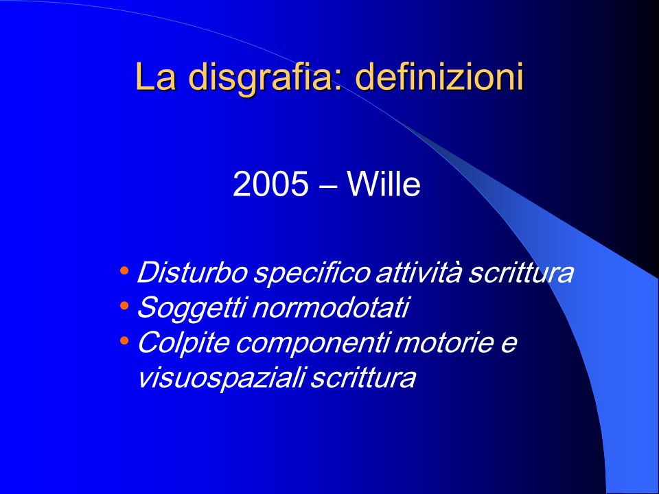 La disgrafia: definizioni