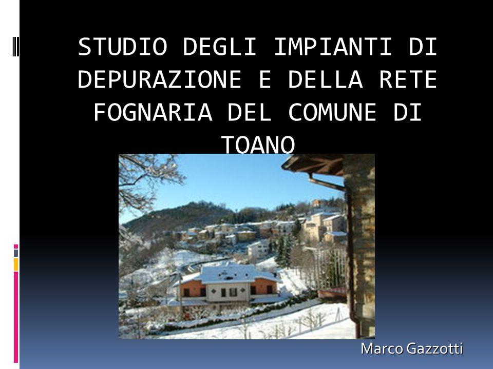STUDIO DEGLI IMPIANTI DI DEPURAZIONE E DELLA RETE FOGNARIA DEL COMUNE DI TOANO