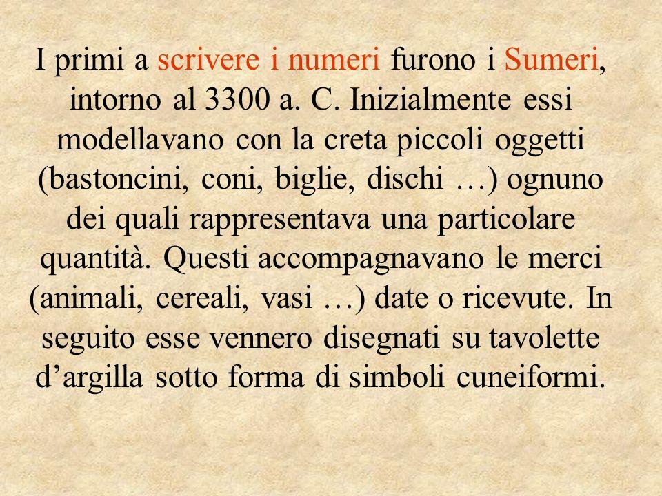 I primi a scrivere i numeri furono i Sumeri, intorno al 3300 a. C