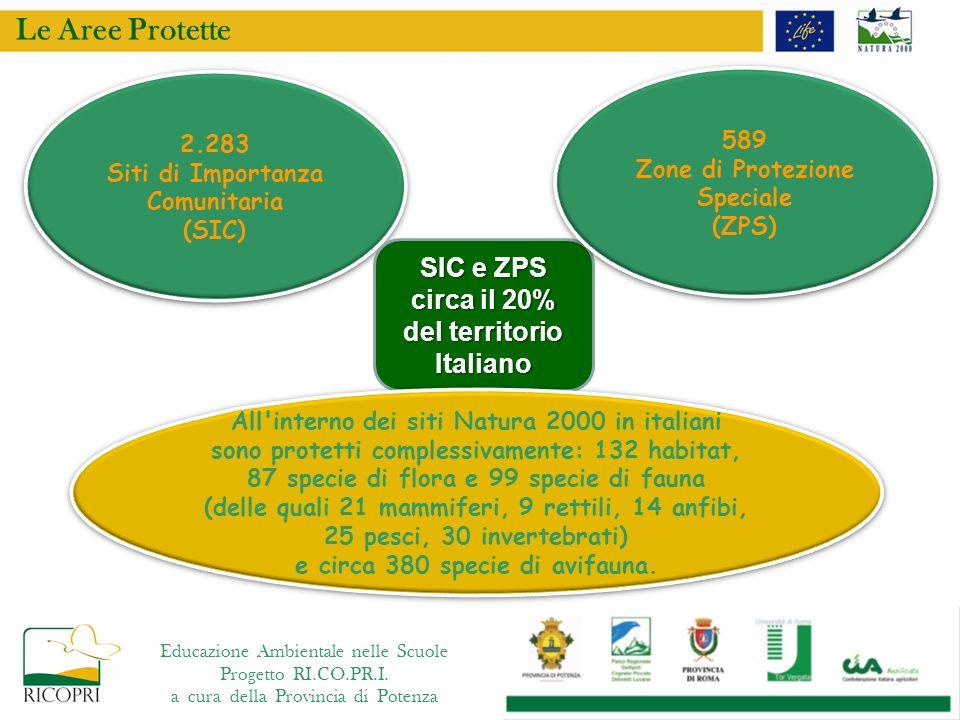 SIC e ZPS circa il 20% del territorio Italiano