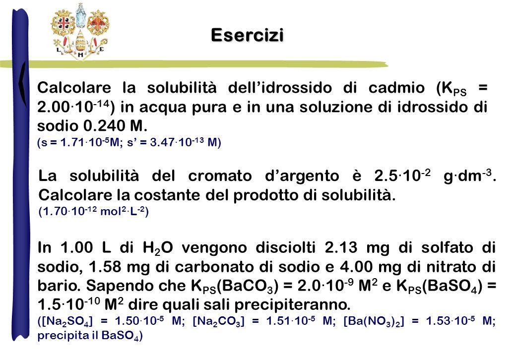 Esercizi Calcolare la solubilità dell'idrossido di cadmio (KPS = 2.00·10-14) in acqua pura e in una soluzione di idrossido di sodio 0.240 M.