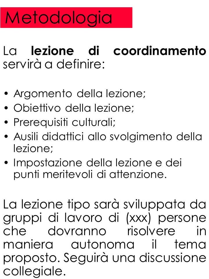 Metodologia La lezione di coordinamento servirà a definire: