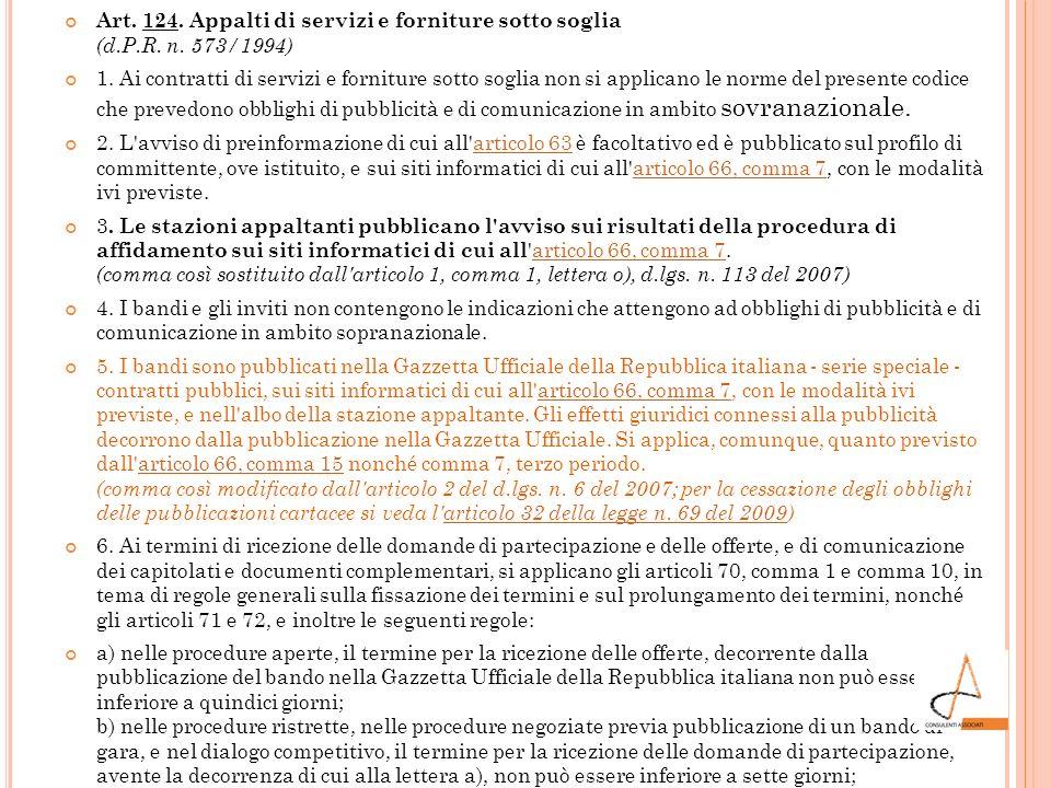 Art. 124. Appalti di servizi e forniture sotto soglia (d. P. R. n