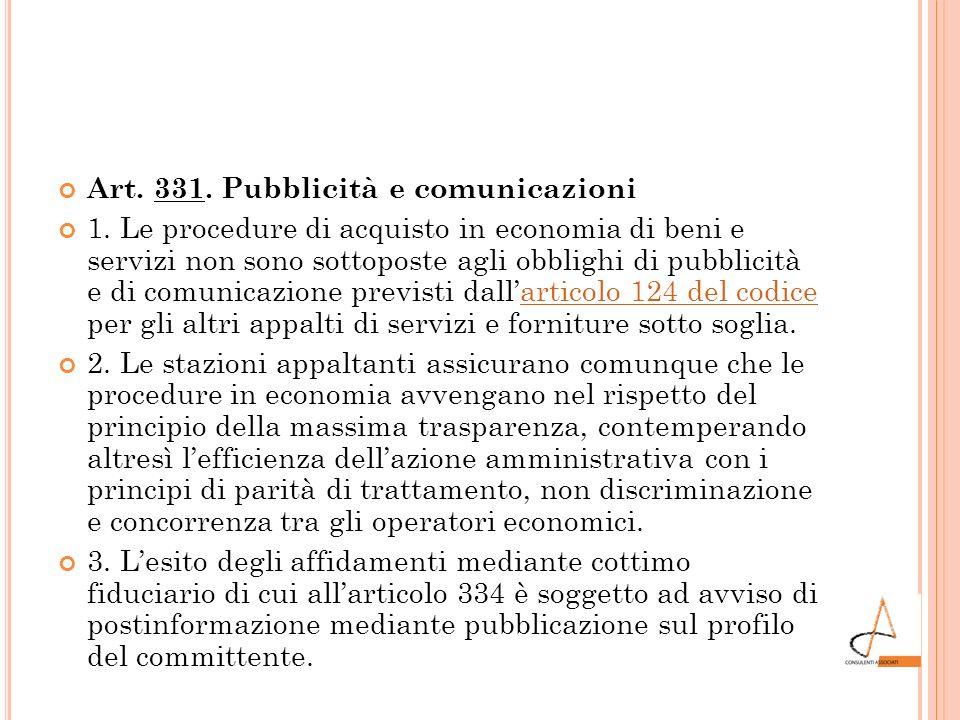 Art. 331. Pubblicità e comunicazioni