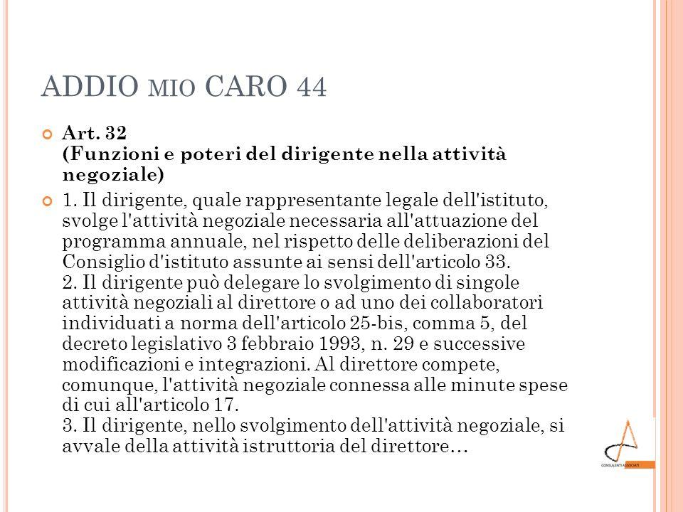 ADDIO mio CARO 44 Art. 32 (Funzioni e poteri del dirigente nella attività negoziale)