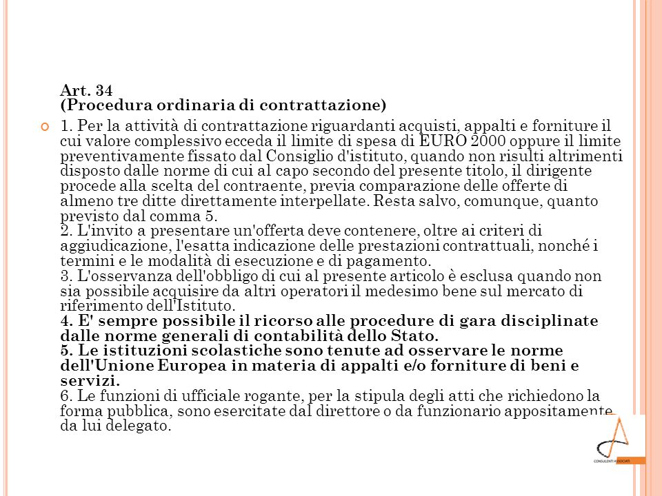 Art. 34 (Procedura ordinaria di contrattazione)