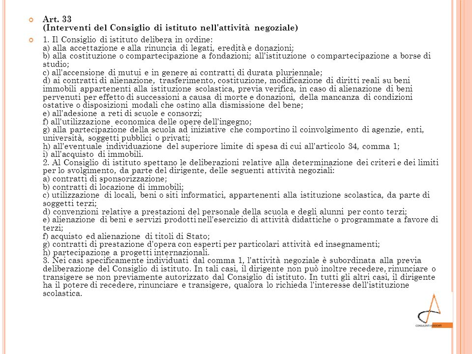 Art. 33 (Interventi del Consiglio di istituto nell attività negoziale)