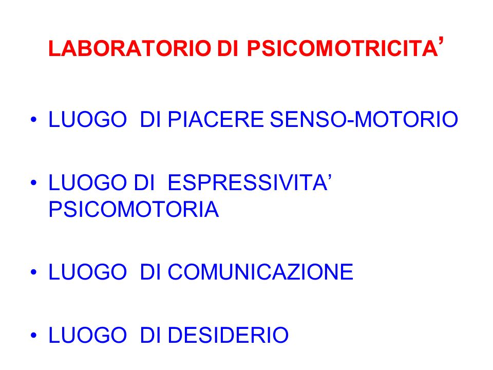 LABORATORIO DI PSICOMOTRICITA'