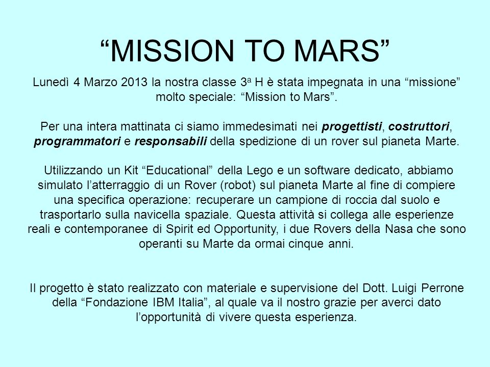molto speciale: Mission to Mars .