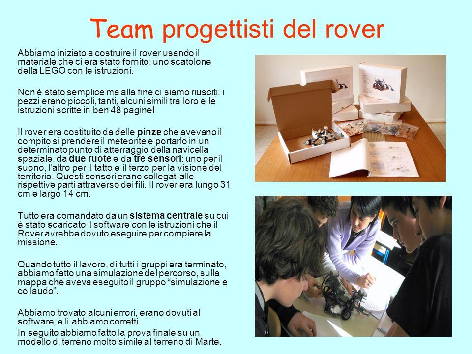 Team progettisti del rover