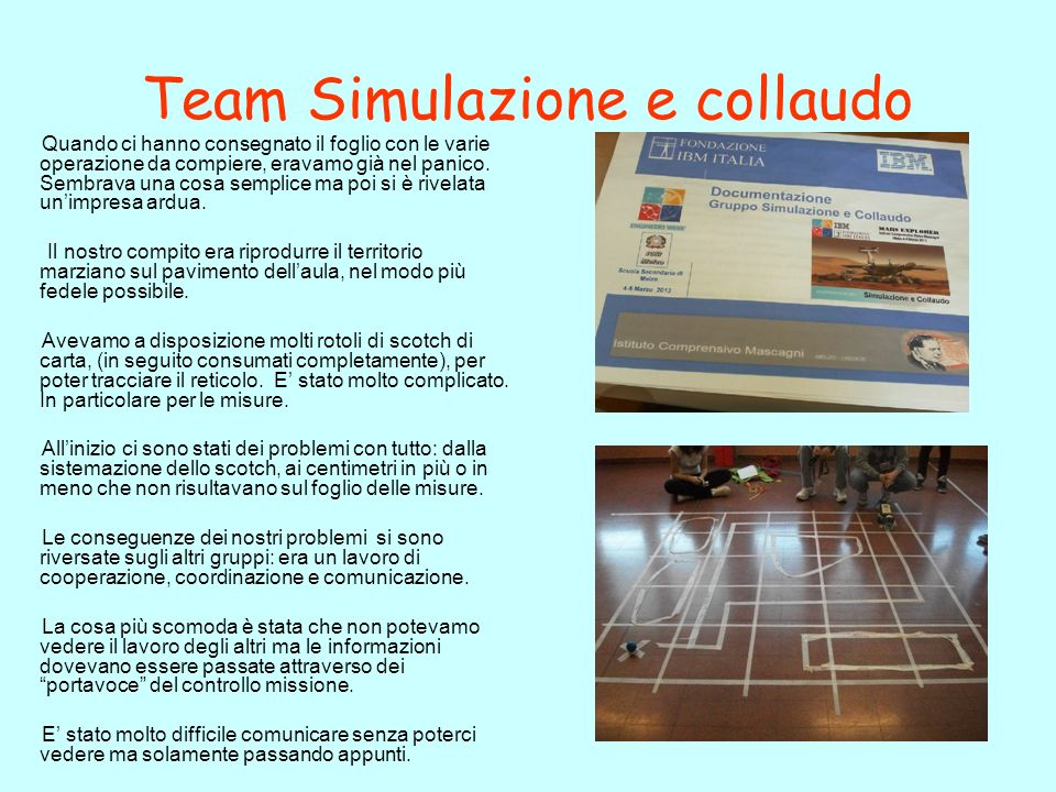 Team Simulazione e collaudo