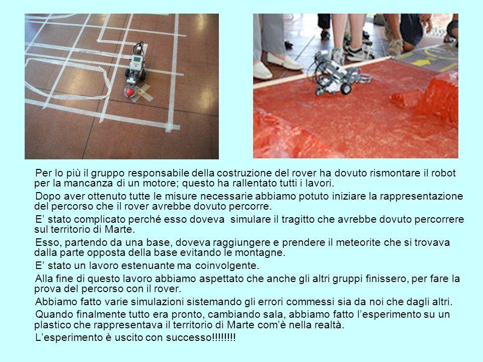 Per lo più il gruppo responsabile della costruzione del rover ha dovuto rismontare il robot per la mancanza di un motore; questo ha rallentato tutti i lavori.