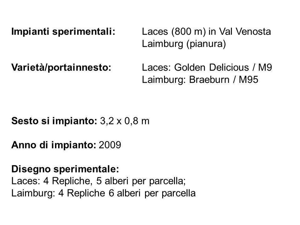 Impianti sperimentali: Laces (800 m) in Val Venosta