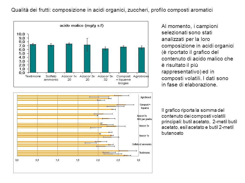 Qualità dei frutti: composizione in acidi organici, zuccheri, profilo composti aromatici