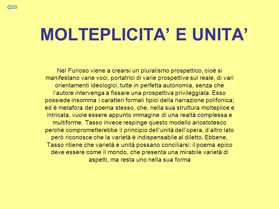 MOLTEPLICITA' E UNITA'