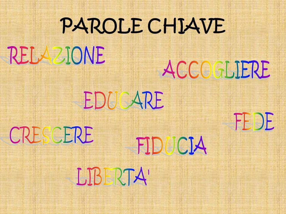PAROLE CHIAVE RELAZIONE ACCOGLIERE EDUCARE FEDE CRESCERE FIDUCIA