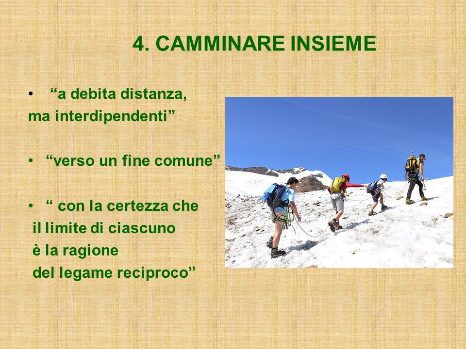 4. CAMMINARE INSIEME a debita distanza, ma interdipendenti