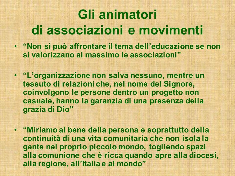 Gli animatori di associazioni e movimenti