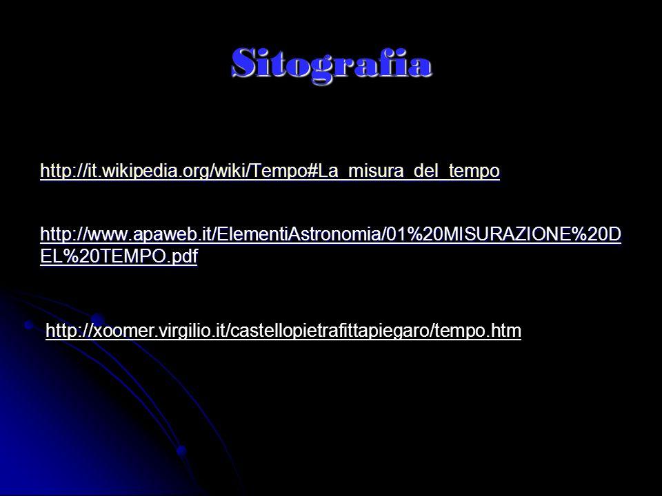 Sitografia http://it.wikipedia.org/wiki/Tempo#La_misura_del_tempo